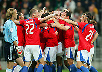 Fotball<br /> Tsjekkia<br /> Foto: Gepa/Digitalsport<br /> NORWAY ONLY<br /> <br /> 17.10.2007<br /> Timo Hildebrand (GER) und den Jubel der tschechischen Spieler mit David Rozehnal und Tomas Ujfalusi (CZE)