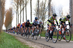 Elena Cecchini and Alexis Ryan in the lead group for CANYON//SRAM Racing as the wind tears the race up in the early kilometres of Omloop van Borsele 2016. A 139 km road race starting and finishing in 's-Heerenhoek, Netherlands on 23rd April 2016.