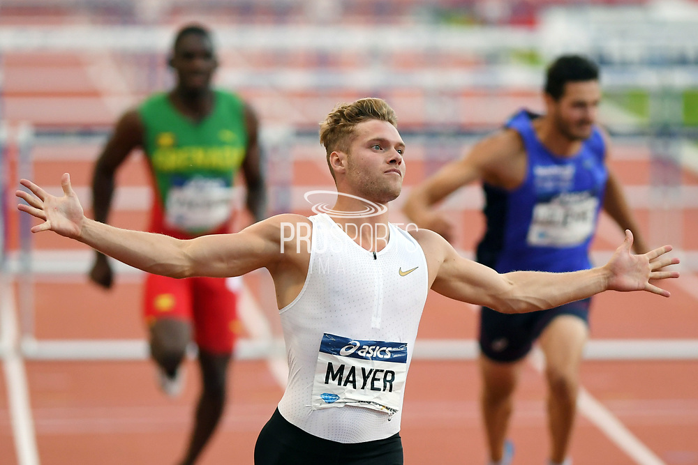 Kevin Mayer competes and wins men triathlon (110m hurdles) during the Meeting de Paris 2018, Diamond League, at Charlety Stadium, in Paris, France, on June 30, 2018 - Photo Philippe Millereau / KMSP / ProSportsImages / DPPI