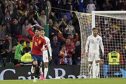 October 15, 2018 - Seville, Spain - SERGIO RAMOS of Spain (L ) celebrates after scoring 2-3 during the UEFA Nations League Group A4 soccer match between Spain and England at the Benito Villamarin Stadium (Credit Image: © Daniel Gonzalez Acuna/ZUMA Wire)