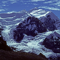 A glacial icefall and mountain north of the Annapurna Massif in Nepal's Himalaya.