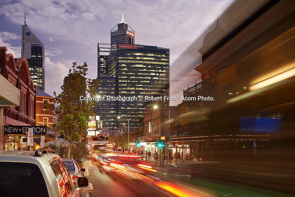 William St, Northbridge by night Perth Region