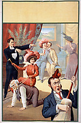 Hypnotist directing group of people to do unusual things: woman riding man, man playing broom like a guitar, two men embracing 1900. Theatrical production.
