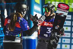 Sofia Nadyrshina (RUS) with Selina Joerg (GER) during parallel giant slalom FIS Snowboard Alpine world championships 2021 on 1st of March 2021 on Rogla, Slovenia, Slovenia. Photo by Grega Valancic / Sportida