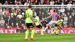 Stoke City's Sam Vokes (10) scores his side's first goal of the game during the Sky Bet Championship match at the bet365 Stadium, Stoke.
