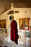 Interor of the Greek Orthodox chuch of Ayios Eletherios, Paliachora,  Aegina, Greek Saronic Islands .<br /> <br /> If you prefer to buy from our ALAMY PHOTO LIBRARY  Collection visit : https://www.alamy.com/portfolio/paul-williams-funkystock/aegina-greece.html <br /> <br /> Visit our GREECE PHOTO COLLECTIONS for more photos to download or buy as wall art prints https://funkystock.photoshelter.com/gallery-collection/Pictures-Images-of-Greece-Photos-of-Greek-Historic-Landmark-Sites/C0000w6e8OkknEb8