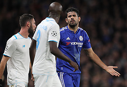Diego Costa of Chelsea and Bruno Martins Indi ( C ) of FC Porto exchange words after the clash - Mandatory byline: Paul Terry/JMP - 09/12/2015 - Football - Stamford Bridge - London, England - Chelsea v FC Porto - Champions League - Group G