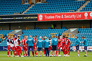 Middlesbrough Manager Neil Warnock gets his team together after the victory during the EFL Sky Bet Championship match between Millwall and Middlesbrough at The Den, London, England on 8 July 2020.