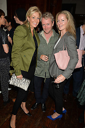 Lefft to right, NADJA SWAROVSKI, RONAN BOUROULLEC and JULIA KONIG at a party to celebrate opening of Galerie Kreo in London held at Il Bottaccio, Grosvenor Place, London on 17th September 2014.