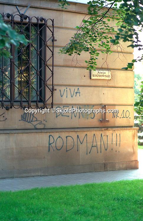Graffiti professing Dennis Rodman overseas fanship.  Warsaw Poland