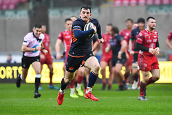 Matt Scott of Edinburgh makes a break<br /> <br /> Photographer Craig Thomas/Replay Images<br /> <br /> Guinness PRO14 Round 11 - Scarlets v Edinburgh - Saturday 15th February 2020 - Parc y Scarlets - Llanelli<br /> <br /> World Copyright © Replay Images . All rights reserved. info@replayimages.co.uk - http://replayimages.co.uk