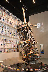 Washington DC; USA: The Newseum, which celebrates the media and its effect on the public.  Newsgathering and its effect on our lives. Display of TV broadcast antenna rescued from North Tower WTC after 9-11 attack..Photo copyright Lee Foster Photo # 13-washdc80028