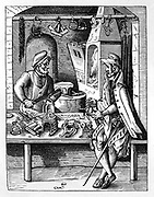 The Spur Maker.  Craftsman talks to customer while continuing to file a spur which is held in a vice. Behind him in his workshop a fire is burning in the furnace where he heats metal before shaping it on anvil in centre. On workbench and hanging above him