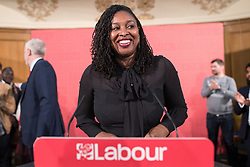 © Licensed to London News Pictures . 20/04/2017 . London , UK . DAWN BUTLER hosts after Jeremy Corbyn delivers a speech to launch the Labour Party's campaign in the 2017 General Election , at Church House in Westminster . Photo credit: Joel Goodman/LNP