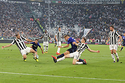October 14, 2017 - Turin, Piedmont, Italy - Ciro IMMOBILE (SS Lazio, center)  in action during the Serie A football match between Juventus FC and SS Lazio at Olympic Allianz Stadium on 14 October, 2017 in Turin, Italy. (Credit Image: © Massimiliano Ferraro/NurPhoto via ZUMA Press)