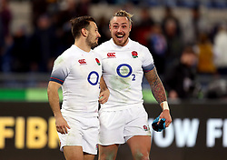 England's Danny Care (left) and Jack Nowell after the NatWest 6 Nations match at the Stadio Olimpico, Rome.