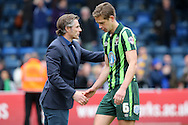 Gareth Ainsworth, the Wycombe Wanderers manager shakes hands with Paul Robinson of AFC Wimbledon after full time. Skybet football league two match, Wycombe Wanderers  v AFC Wimbledon at Adams Park  in High Wycombe, Buckinghamshire on Saturday 2nd April 2016.<br /> pic by John Patrick Fletcher, Andrew Orchard sports photography.