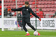 Middlesbrough goalkeeper Dimi Konstantopoulos (1) during the warm up before becoming Middlesbrough's oldest ever player during The FA Cup 3rd round match between Middlesbrough and Peterborough United at the Riverside Stadium, Middlesbrough, England on 5 January 2019.