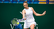 Karolina Pliskova of the Czech Republic in action against Camila Giorgi of Italy during her first round match at the 2021 Viking International WTA 500 tennis tournament on June 22, 2021 at Devonshire Park Tennis in Eastbourne, England - Photo Rob Prange / Spain ProSportsImages / DPPI / ProSportsImages / DPPI