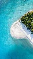 Aerial view of a sandbank  and drifting sand at the shore of  the local / inhabited island Vashafaru, Haa Alif  Atoll, Maldives, Indian Ocean