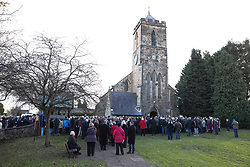 © Licensed to London News Pictures. 01/12/2017. Connah's Quay, UK. Crowds gather outside St Mark's Church in Connah's Quay, Flintshire for the funeral of Carl Sargeant, who died four days after stepping down from his post in the Welsh Government after unspecified allegations of sexual harassment were made against him. He had denied the allegations. Photo credit: Joel Goodman/LNP