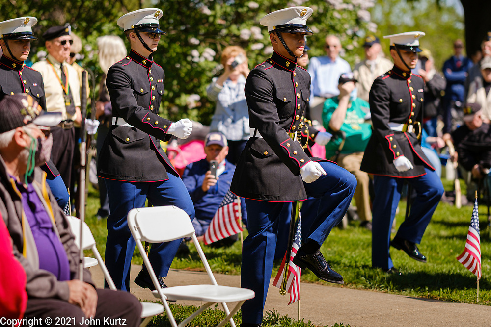 07 MAY 2021 - DES MOINES, IOWA: More than 200 people attended the 14th Annual Vietnam Veterans Recognition Day Ceremony at the State Capitol in Des Moines. The ceremony recognized the service of all veterans, living and dead.    PHOTO BY JACK KURTZ