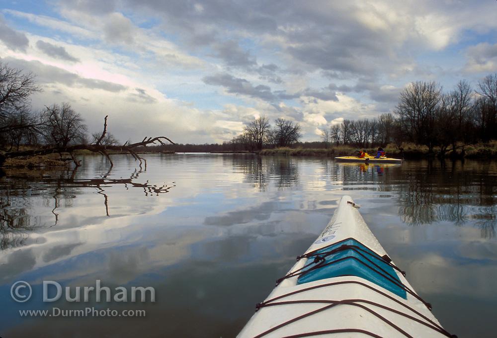 Kayaks on the west arm of Sturgeon lake. Sauvie Island State Refuge, Oregon.
