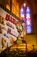 The baptismal font with chancel banner and stained glass on Saturday, Jan. 16, 2021, at Zion Lutheran Church, Fort Wayne, Indiana. LCMS Communications/Erik M. Lunsford