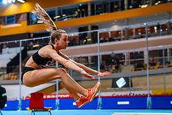 Myke van de Wiel in action on long jump during the Dutch Athletics Championships on 14 February 2021 in Apeldoorn