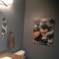 Montauk Rocks perfectly complements the stonework in this powder room in New Haven, CT.