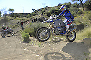 Roger Eggers exiting pit competition on BMW HP2 at 2010 Rawhyde Adventure Rider Challenge