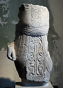 Male torso in Egyptianesque dress. The Uraus-snakes on the loincloth are a ruler symbol Egyptian. Limestone, Second half, 6th century BC.