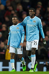 MANCHESTER, ENGLAND - Sunday, February 13, 2010: Manchester City Shaun Wright-Phillips celebrates scoring the opening goal against Stoke City with team-mate Emmanuel Adebayor during the FA Cup 5th Round match at the City of Manchester Stadium. (Photo by David Rawcliffe/Propaganda)  MANCHESTER, ENGLAND - Sunday, February 13, 2010: Manchester City xxxx and Stoke City's xxxx during the FA Cup 5th Round match at the City of Manchester Stadium. (Photo by David Rawcliffe/Propaganda)