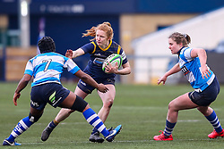 Paige Farries of Worcester Warriors Women hands off Tiana Gordon of DMP Durham Sharks - Mandatory by-line: Nick Browning/JMP - 09/01/2021 - RUGBY - Sixways Stadium - Worcester, England - Worcester Warriors Women v DMP Durham Sharks - Allianz Premier 15s