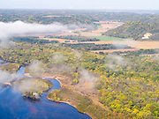 Aerial view of Sauk County, Wisconsin, along the Wisconsin River.