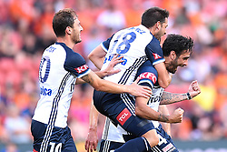 December 17, 2017 - Brisbane, QUEENSLAND, AUSTRALIA - Rhys Wiliams of Melbourne Victory (4, right) celebrates with team mates after scoring a goal during the round eleven Hyundai A-League match between the Brisbane Roar and the Melbourne Victory at Suncorp Stadium on Sunday, December 17, 2017 in Brisbane, Australia. (Credit Image: © Albert Perez via ZUMA Wire)