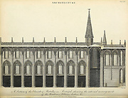 A section of the Church of Batalha in Portugal showing the internal arrangement of the Windows, Pillars, Arches etc. Copperplate engraving From the Encyclopaedia Londinensis or, Universal dictionary of arts, sciences, and literature; Volume II;  Edited by Wilkes, John. Published in London in 1810