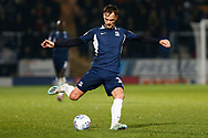 Brandon Goodship plays a pass during the EFL Sky Bet League 1 match between Burton Albion and Southend United at the Pirelli Stadium, Burton upon Trent, England on 3 December 2019.