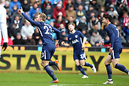 Christian Eriksen of Tottenham Hotspur (l) celebrates after he scores his teams 1st goal.The Emirates FA Cup, quarter-final match, Swansea city v Tottenham Hotspur at the Liberty Stadium in Swansea, South Wales on Saturday 17th March 2018.<br /> pic by  Andrew Orchard, Andrew Orchard sports photography.