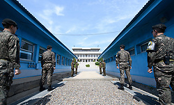 April 26, 2018 - Panmunjom, South Korea - South and North Korea DMZ zone and border. Inter-Korean summit at the Panmunjom in the demilitarized zone (DMZ) separating the two Koreas in Paju, north of Seoul, South Korea. (Credit Image: ? Inter-Korean Press Corps via ZUMA Wire)