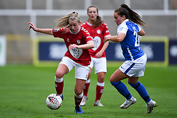 Jamie-Lee Napier of Birmingham City Women challenges Flo Allen of Bristol City Women  - Mandatory by-line: Ryan Hiscott/JMP - 18/10/2020 - FOOTBALL - Twerton Park - Bath, England - Bristol City Women v Birmingham City Women - Barclays FA Women's Super League