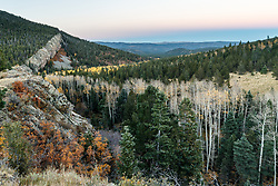 """Sunset on """"The Wall"""" with aspens in fall color along Elk Creek , Vermejo Park Ranch, New Mexico, USA."""
