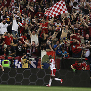 Bradley Wright-Phillips, New York Red Bulls, celebrates with fans after scoring his sides second goal during the New York Red Bulls Vs NYCFC, MLS regular season match at Red Bull Arena, Harrison, New Jersey. USA. 10th May 2015. Photo Tim Clayton