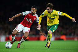Theo Walcott of Arsenal Battles for the ball with James Husband of Norwich City - Mandatory by-line: Alex James/JMP - 24/10/2017 - FOOTBALL - Emirates Stadium - London, England - Arsenal v Norwich City - Carabao Cup