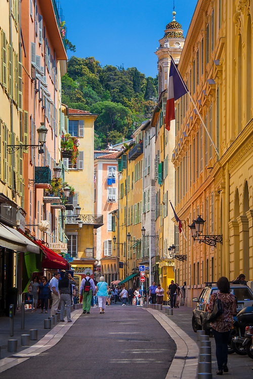 "Street scene in the ""Vielle Ville"" (old town) part of Nice on the French riviera"