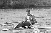 Kingston on Thames, United Kingdom.   Men's Single Scull. M1X   The final Round of the Leyland Daf Sprint series, at Kingston RC on the River Thames, Surrey, England, <br /> <br /> Saturday 04.05.1987<br /> <br /> [Mandatory Credit; Peter Spurrier/Intersport-images] 1987 Leyland Daf Sprints, Kingston. UK