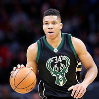 16 December 2015: Milwaukee Bucks forward Giannis Antetokounmpo (34) brings the ball up court during the Los Angeles Clippers 103-90 victory over the Milwaukee Bucks, at the Staples Center, Los Angeles, California, USA.