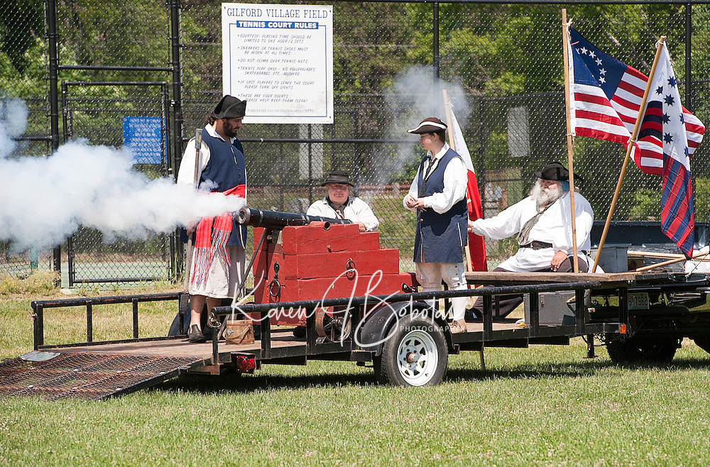 Captain Morrill's cannon salute at the Village Field Saturday morning during Gilford's Bicentennial festivities.  (Karen Bobotas/for the Laconia Daily Sun)