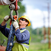 A National Grid linesman works on the Rhode Island utlity project.