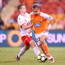 BRISBANE, AUSTRALIA - MARCH 3: Eric Bautheac of the Roar and Ryan Kitto of Adelaide compete for the ball during the Round 22 Hyundai A-League match between Brisbane Roar and Adelaide United on March 3, 2018 in Brisbane, Australia. (Photo by Patrick Kearney / Brisbane Roar FC)